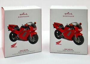 Hallmark-Keepsake-1992-Honda-NR750-Motorcycle-Ornament-Lot-of-2-Collectible-BNIB
