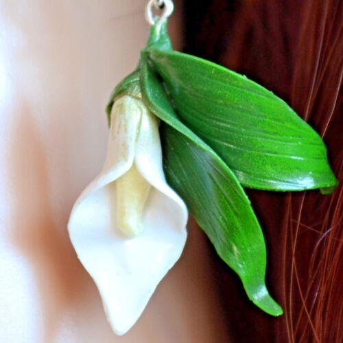 Summer Earrings Nature Polymer Clay Wedding Calla Lily Hook//Dangle Earrings