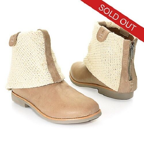 NEW EMU WILLANDRA LEATHER & WOVEN CANVAS ANKLE BOOTS NUDE/ SAND 7.5 OR