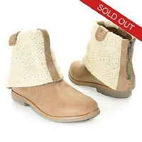 Emu Willandra Leather & Woven Canvas Ankle Boots Nude/ Sand 7.5 Or Eu 38.5