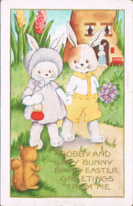 Easter-Postcard-Dressed-Rabbits-Bobby-amp-Baby-Bunny-See-Squirrel-On-Path