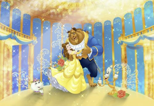 Papier Peint 368x254cm Beauty and the Beast mural GIANT POSTER Disney jaune
