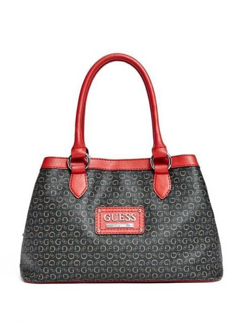 Guess Proposal Black Red Coated Canvas Silver G Print Large Logo Satchel Handbag