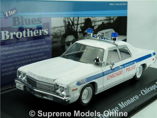 BlauS BROTHERS DODGE MONACO POLICE CAR MODEL 1975 1 43 GrünLIGHT FILM R0154X