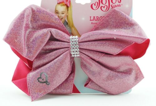 JoJo Siwa Hair Tie Bow Pink Glitter Sparkle Casual Semi Formal Elastic Ponytail