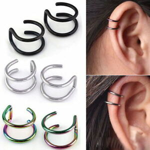 Image Is Loading Punk Cool Clip On Earrings Non Piercing Cartilage