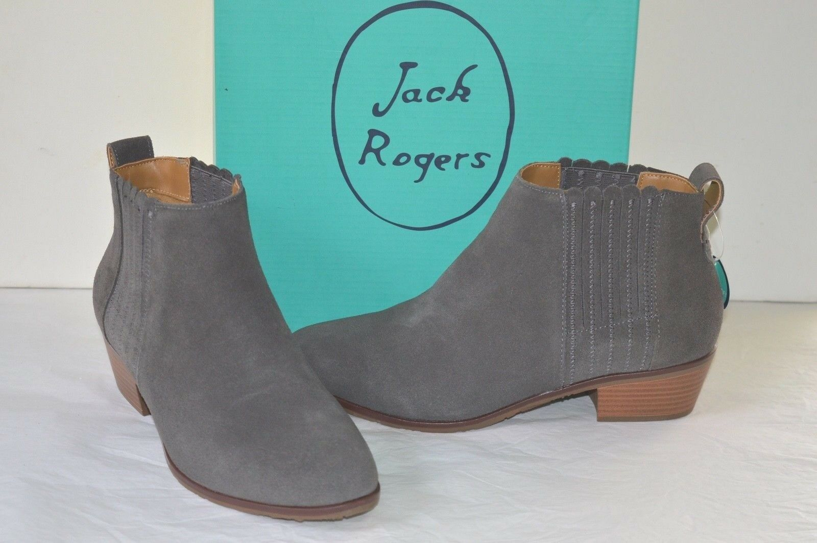 New 148 Jack Rogers Liddy Suede Charcoal Waterproof Short/Ankle Boots/Booties