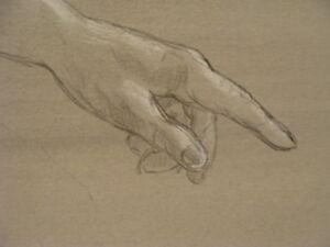 Vintage original LESLIE SNOW (Feron) Art -- HAND on painted surface -- #1