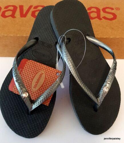 HAVAIANAS BNWT Kids Girls THONGS FLIP FLOPS Sandals Grey Crystal Slim  Logo Surf