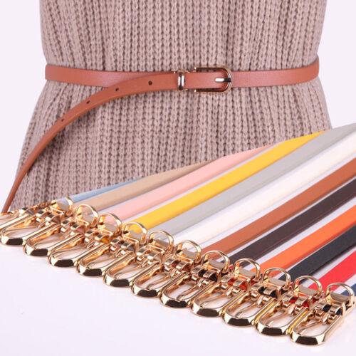 Women Thin Waist Belt Leather Buckle Waistband Strap Pants Dress Decoration