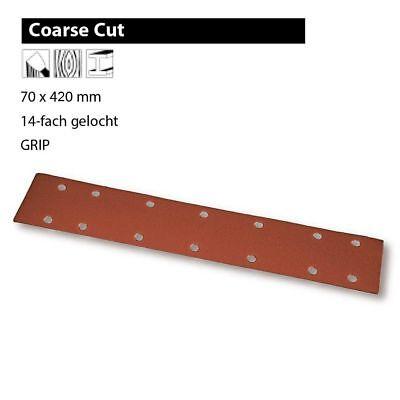 Mirk Coerse Cut Schleifstreifen mit Klettrücken 70x400 mm14-loch Körnung wählbar