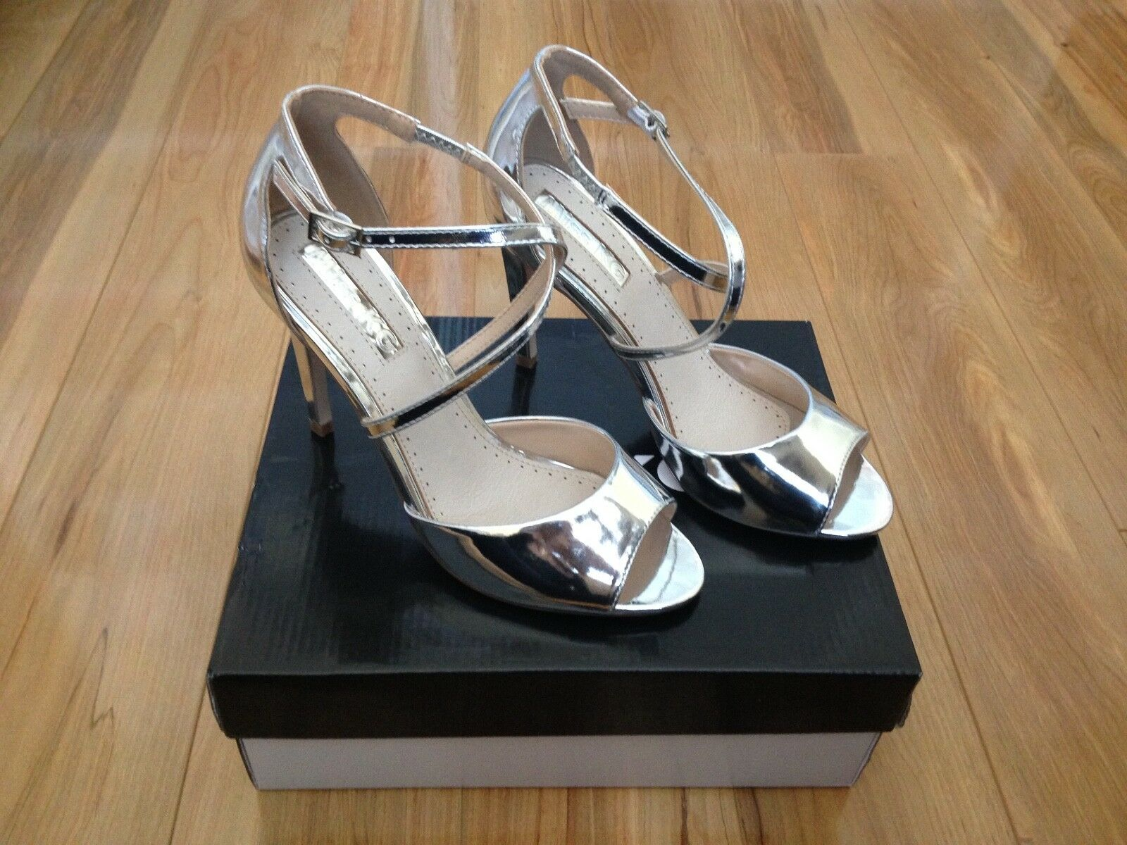 Miss KG Ellis silver High 6 Heel Sandales / Größe 6 High b415d3