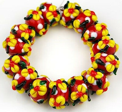 Handmade Lampwork Glass Beads Red Yellow Flower White Dot Jewelry Making Craft 100% Origineel