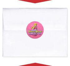24 Princess Peach Super Mario Birthday Party Personalized Envelope Seals