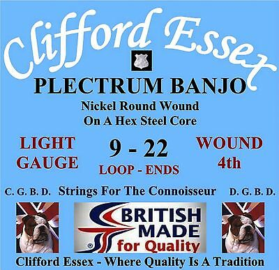 CLIFFORD ESSEX PLECTRUM BANJO STRINGS - LIGHT GAUGE WOUND 4TH. MADE IN BRITAIN.