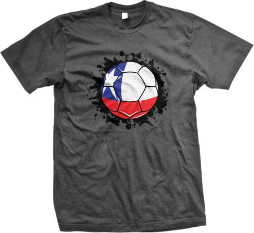Chile Flag Soccer Ball República de Chile Pride La Roja The Red One Mens T-shirt