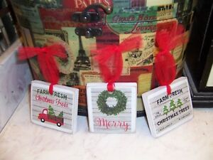 3 Mini Christmas Signs Hangings Red Truck Trees Farmhouse Style Decor Ebay