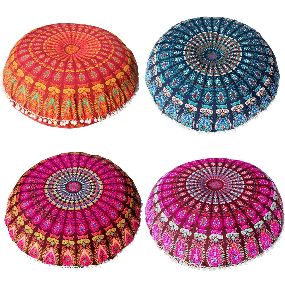 Cushion Cover Ottoman Pouf Indian Large Mandala Floor Pillow Round Meditation