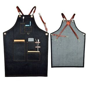 Denim-Bib-Apron-Leather-Strap-Barista-Baker-Bartender-BBQ-Chef-Work-Uniform-Cook