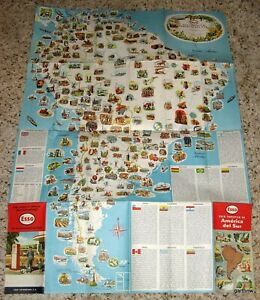 Details about ESSO 1955 PICTORIAL & ROAD MAP OF SOUTH AMERICA in SPANISH *  STANDARD COLOMBIANA