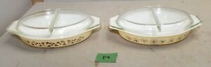2 Pyrex divided dishes with covers collectible vintage glassware lot P4