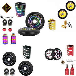 PRO STUNT SCOOTER SET 2 100mm METAL CORE WHEELS QUAD CLAMP PEGS ABEC 9 BEARINGS