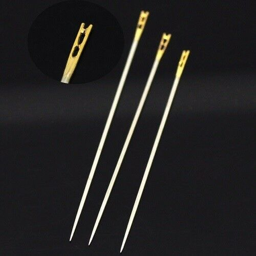 3er-Set Nadel facile einfädeln 36mm//39mm//42mm Chas geöffnet COUTURE Stickerei
