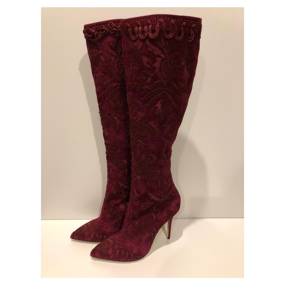 New Oscar de la Renta  2,895 Asiago Embroiderot Suede Knee High Stiefel (Größe  39)