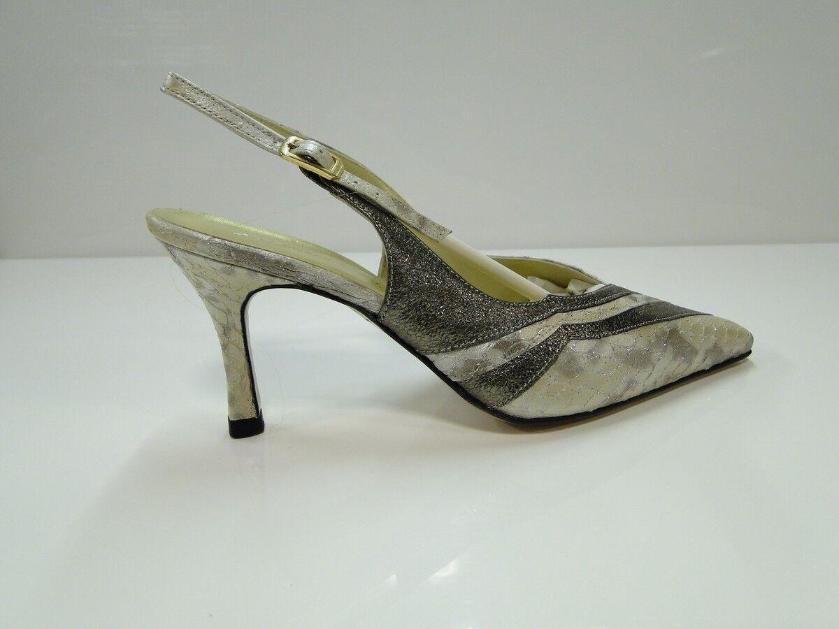 Sabrina Chic Damenschuhe Slingback Bronze Stripe Slingback Damenschuhe Heel Schuhes - (2408 B-Stripe) 91abf8
