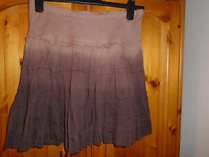 Pretty-brown-toned-tiered-fully-lined-knee-length-summer-skirt-SELECT-size-10