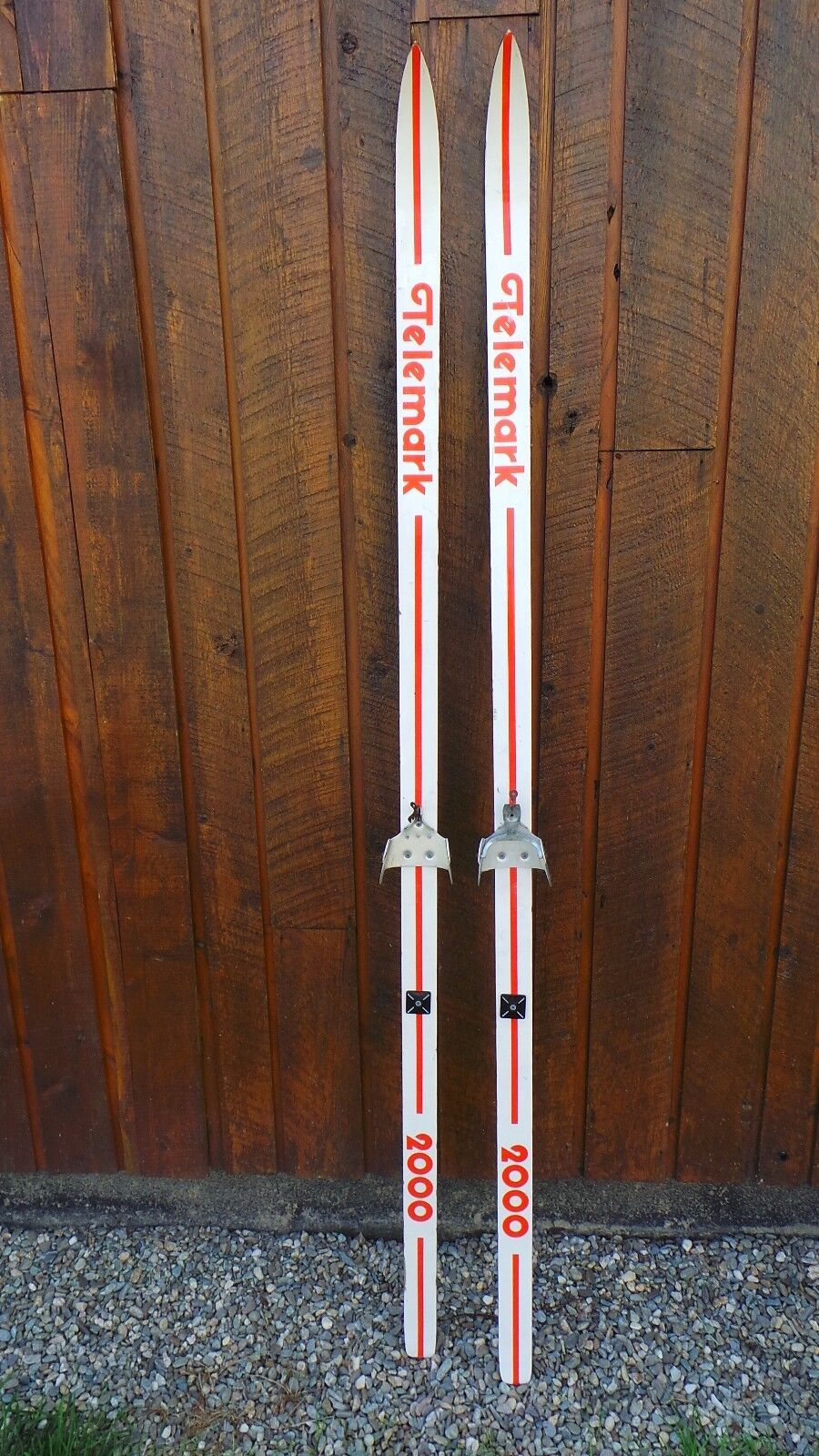 OLD Interesting Vintage Wooden 75  Long Skis White and orange Finish TELEMATH