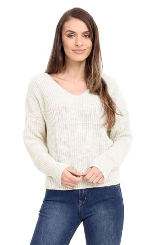 Ladies Knitted Twisted Knot Wrap Slouch Fit Baggy Jumper Reversible Sweater Top