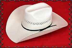 50X-Straw-COWBOY-HAT-Western-SHANTUNG-Panama-4-034-Brim-Cattleman-Rancher