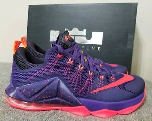 Nike-Lebron-XII-12-Low-Court-Purple-Bright-Crimson-724557-565-Size-11-New-in-Box