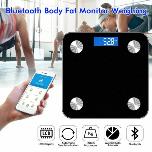 ANDROID 180KG BLUETOOTH BATHROOM SCALES BODY FAT DIGITAL MONITOR WEIGHING iOS