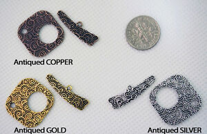 Swirls Textured Toggle Clasp Sets Connector - Antiqued Silver, Gold & Copper