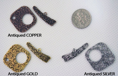 Antiqued Silver Gold Copper Plated Swirls Textured Toggle Clasp Sets Connector