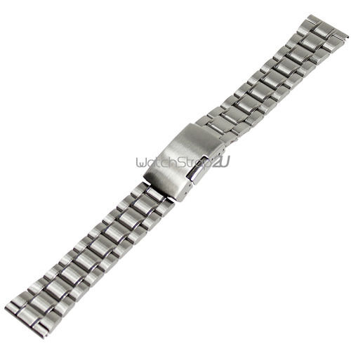Straight End Stainless Steel Watch Band Bracelet Push Button Clasp 18 20 22 mm