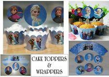 Disney Frozen Elsa Cup Cake casos Cake Toppers Decoraciones Fiestas Bolsas X 24
