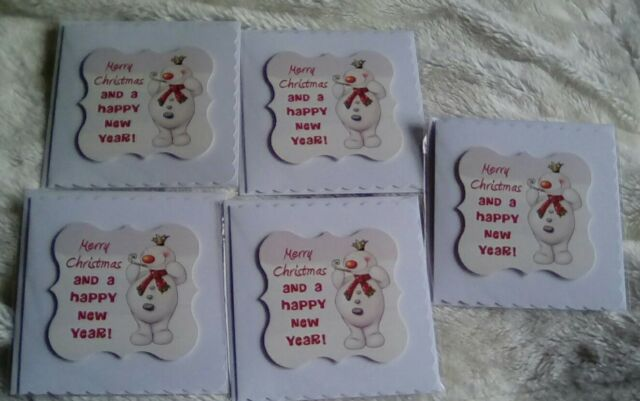 Snowman Handmade Christmas cards (Pack of 5)