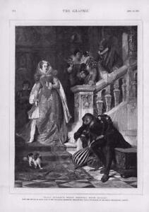 1876 - Antique Print FINE ART Mary Stuart First Meeting Rizzio David Neal  (051)