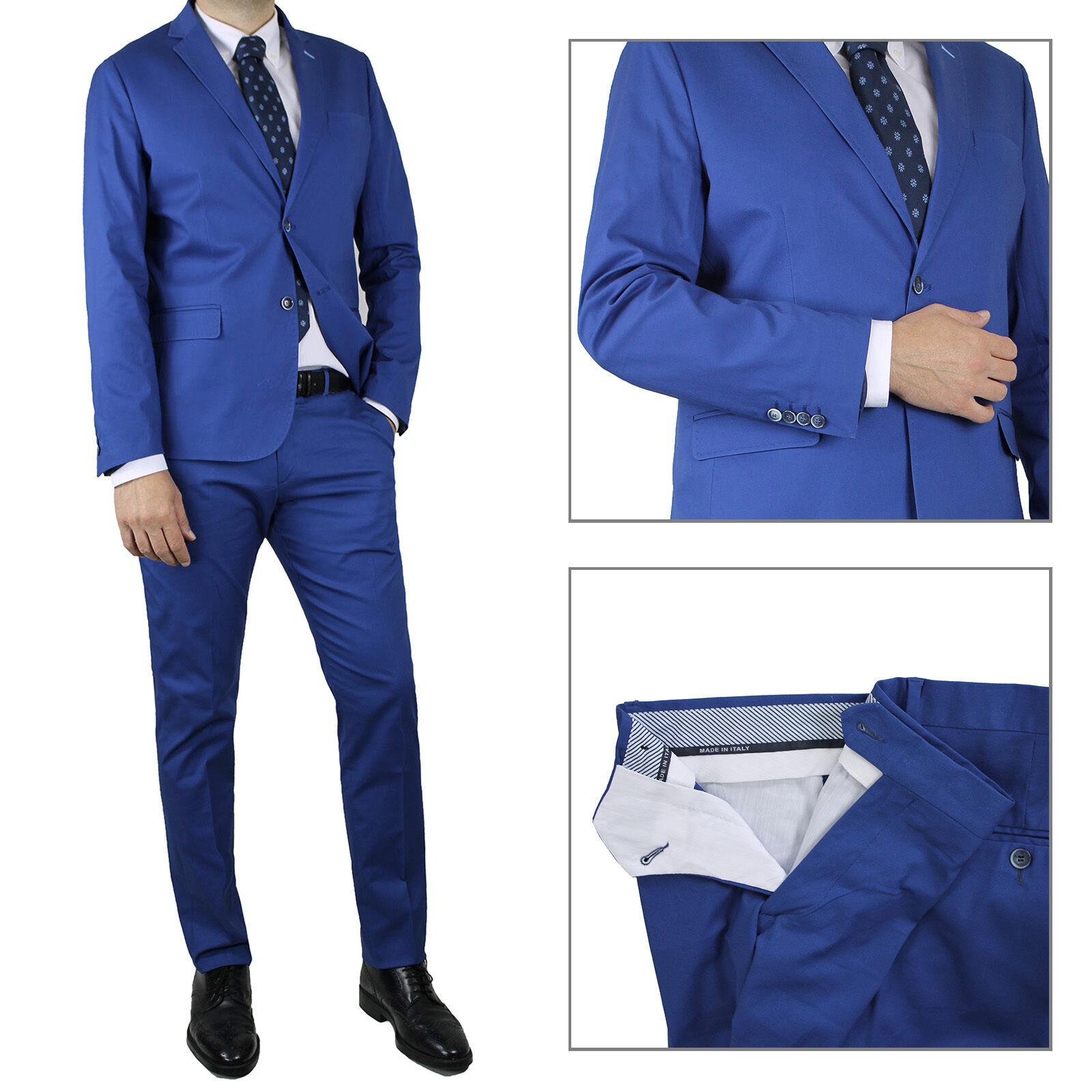 Kleid Men Marineblau élégant slim fit Kleid Baumwolle Zeremonie sartoriale