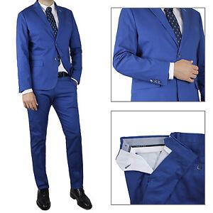Vestito-Da-Uomo-blu-Navy-Elegante-Slim-Fit-Abito-Cotone-cerimonia-Sartoriale