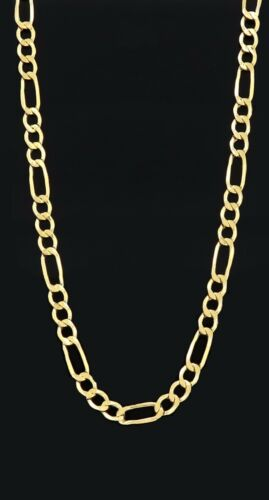 """Real Solid 10K Yellow Gold Figaro Chain Necklace 2.5MM to 4.5MM /& 18/"""" to 24/"""""""