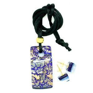 Conjunto-de-pendientes-y-colgante-de-cristal-de-Murano-Azul-Y-Oro-Colgante-De-Venecia