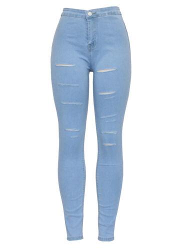 New Womens High Waist Light Blue Distressed Knee Ripped Skinny Fit Denim Jean