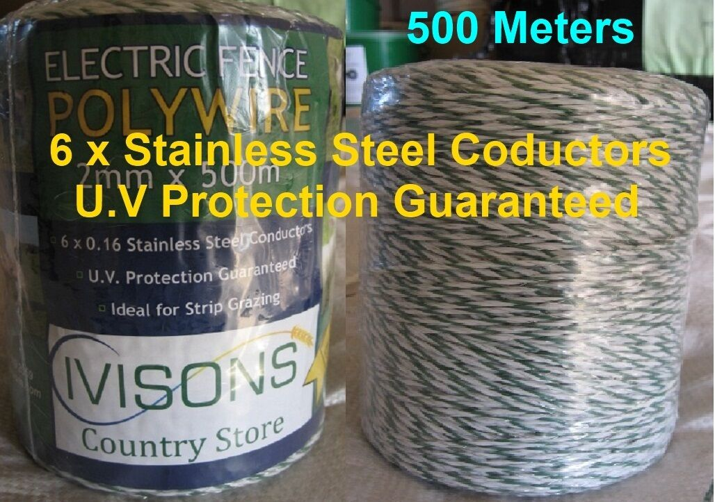 Poly wire 500m x 2mm 6 Strand Electric Fence Energiser Fencing Fencer Ivisons