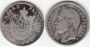 Monnaie-Francaise-1-franc-argent-Napoleon-III-Tete-Lauree-1870-BB