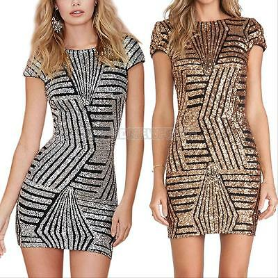 Sexy Women Fashion Sequins Bodycon Bandage Party Cocktail Evening Club Dress New