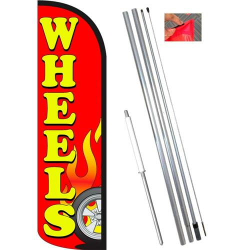 Wheels Red Windless-Style Feather Flag Bundle 14/' OR Replacement Flag Only 11.